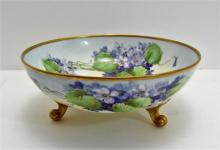 Limoges Bowl Purple Flowers with Gold Feet and Rim