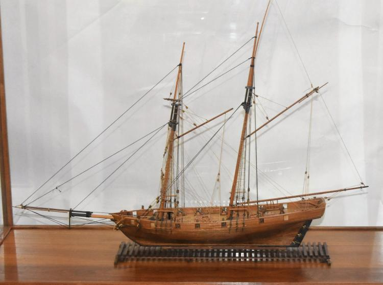 Sailing Ship Three Mast Fore & Aft rigged Ship in Glass Case