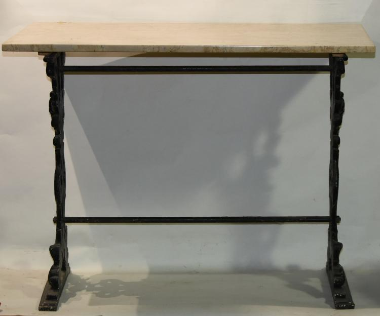 1800s New York rod Iron Marble top wall table