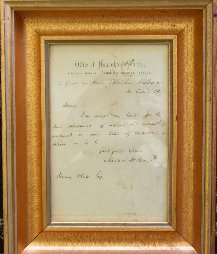 VINTAGE LETTER BY CHARLES DICKENS SON ON HOUSEHOLD WORDS STATIONARY 1881