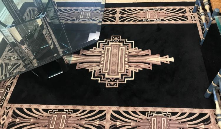 Thick handwoven Art Deco Black Rug