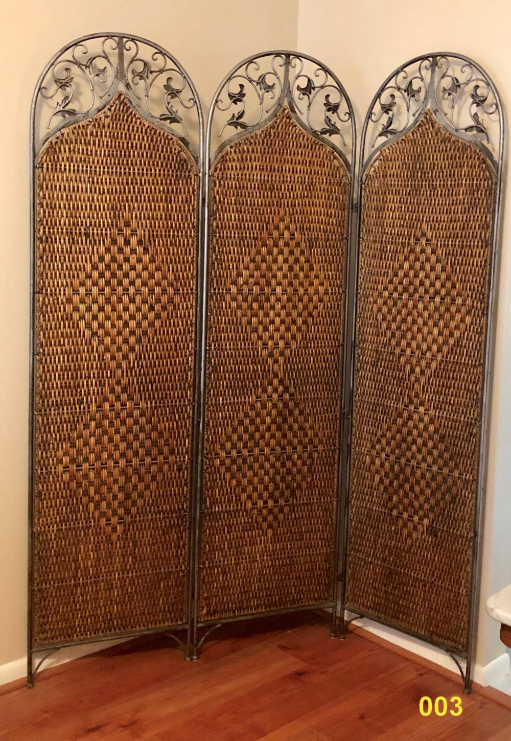 Rattan Screen, Wrought Iron Frame.