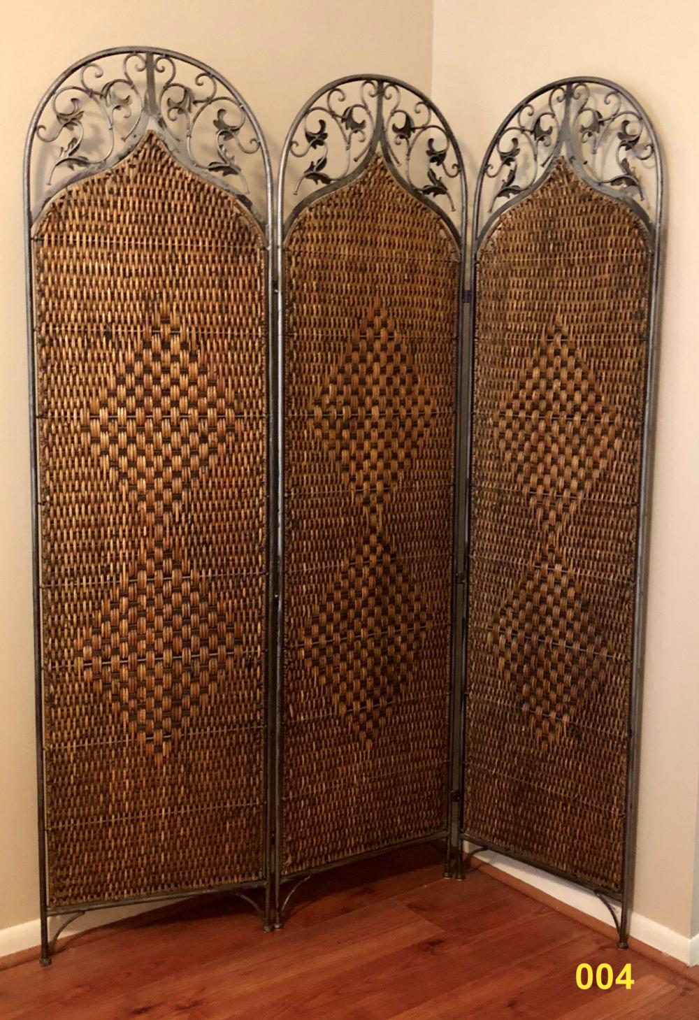 Rattan Screen, Wrought Iron Frame