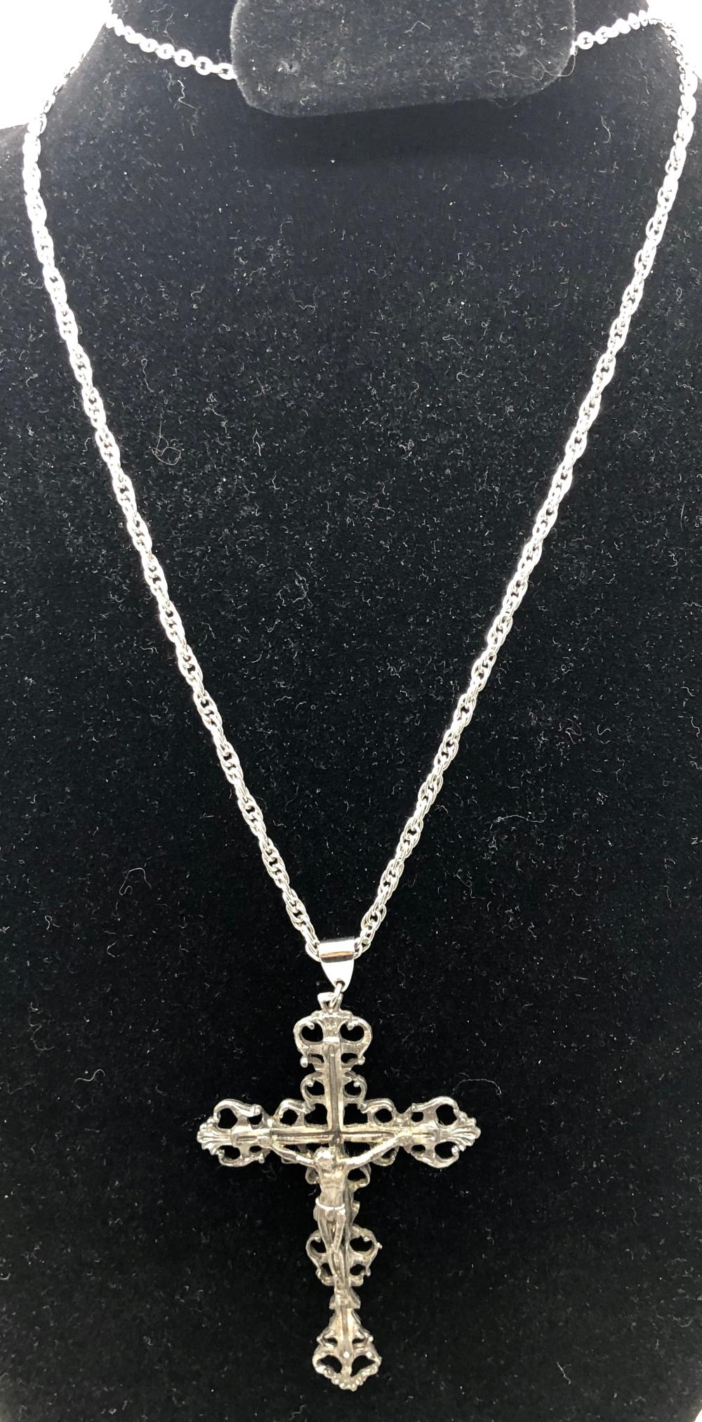 Silver Tone Crucifix on Silver Tone Chain