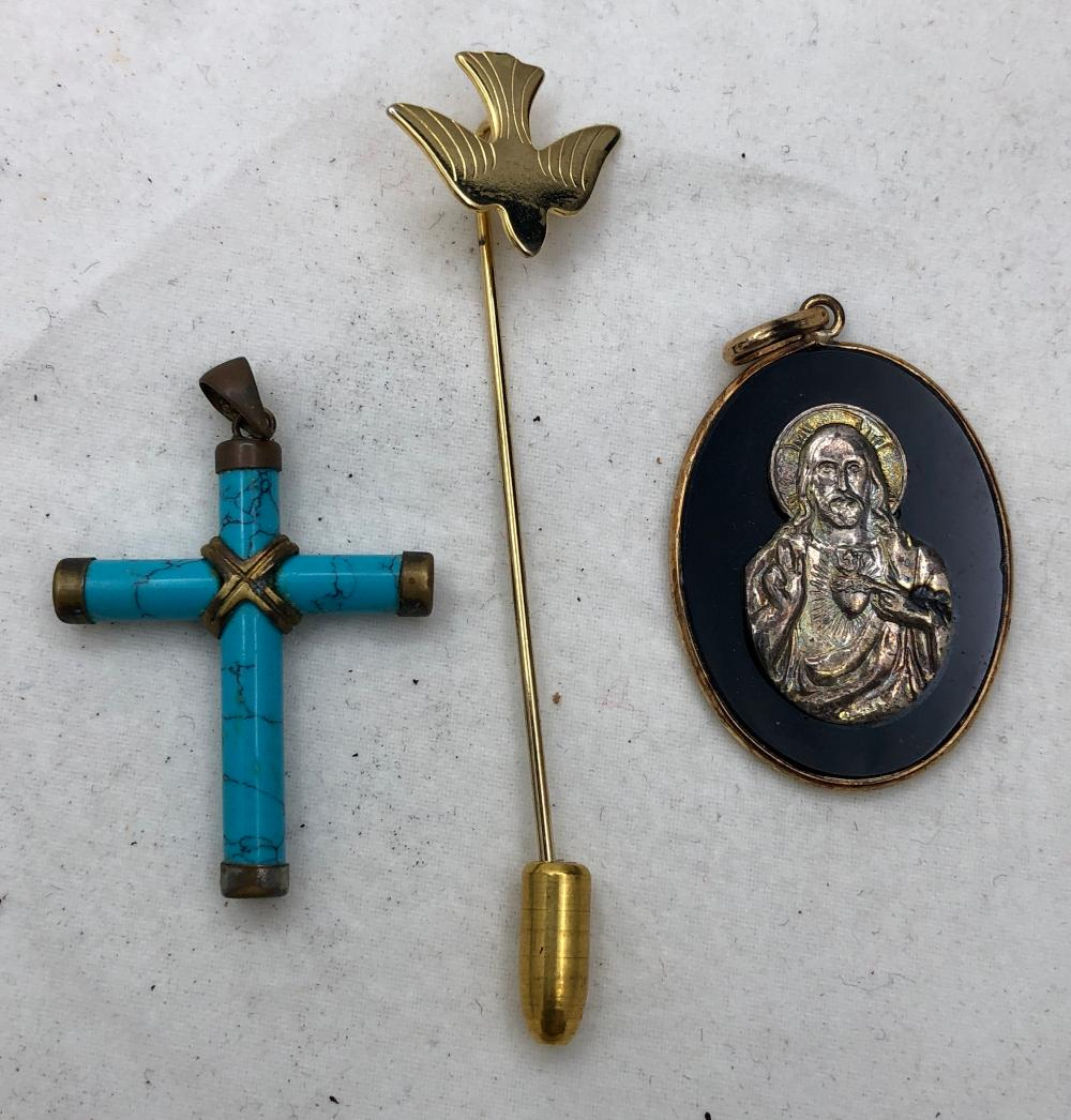 Religious Pendent, Cross and Swallw Pin