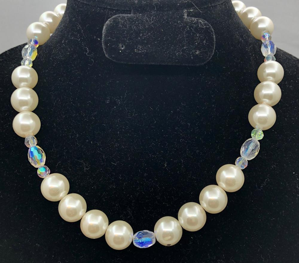 Faux Pearl & Glass Necklace