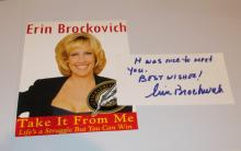Erin Brockovich  Hand Signed Card