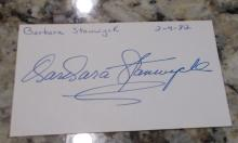 Barbara Stanwyck Hand Signed Card