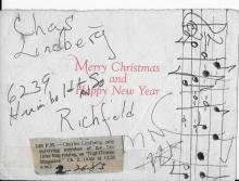 Charles Lindberg Hand Signed Christmas Card with Inscriptions