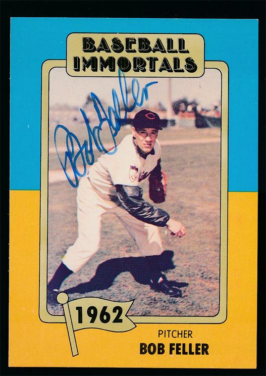 Baseball Immortals Card Of Bob Feller Autographed