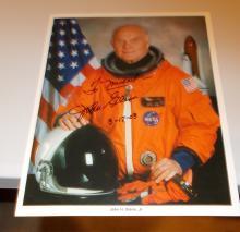 John Glenn Jr. Hand Signed Photo Page  (NASA)