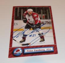 Peter Forsberg  Hand Signed Photo Postcard  (Hockey)