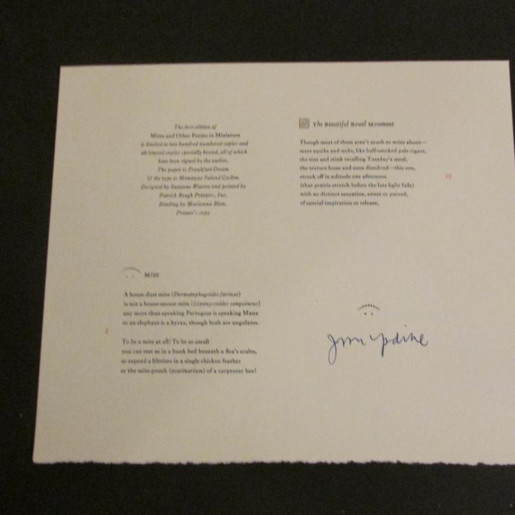 John Updike Hand Signed Printed Poems....