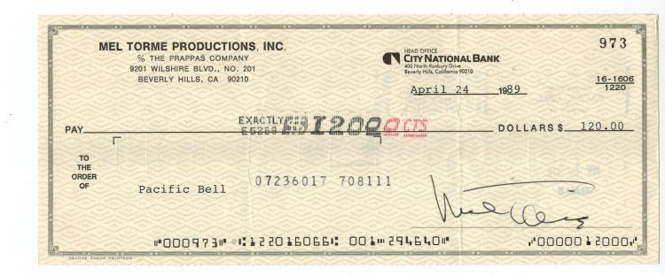 Mel Torme hand Signed Check....