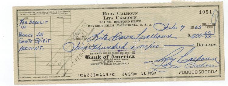Rory Calhoun Hand Signed Check...