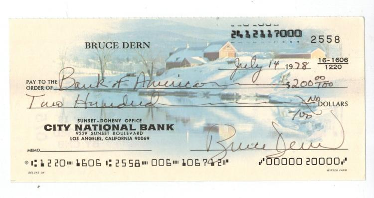 Bruce Dern Hand Signed Check.....