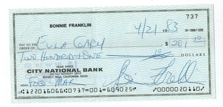 Bonnie Franklin Hand Signed Check....