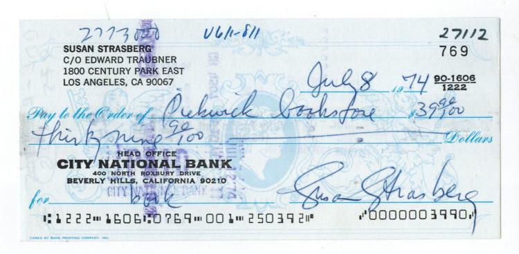 Susan Strasberg Hand Signed Check.......