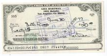 Lisa Hartman Hand Signed Check....