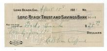 Kathleen Cliffoed Hand Signed Check From 1921.