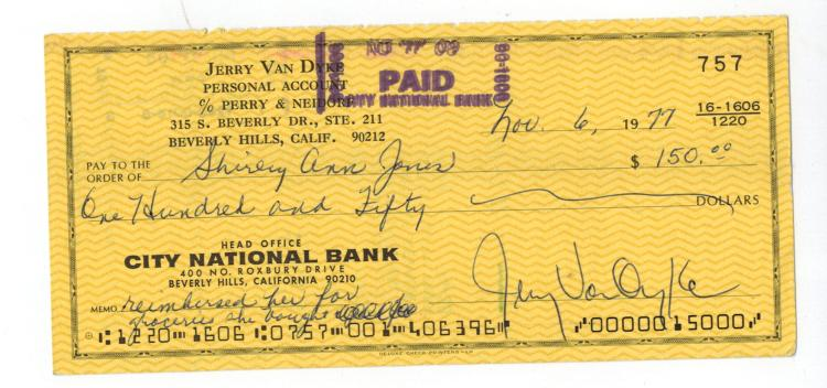 Jerry Van Dyke Hand Signed Check...