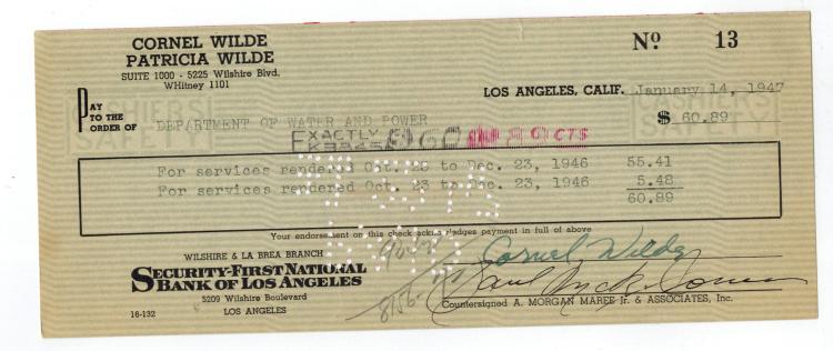 Cornel Wilde Hand Signed Check....
