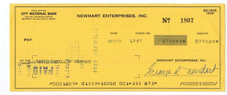Bob Newhart Hand Signed Check....