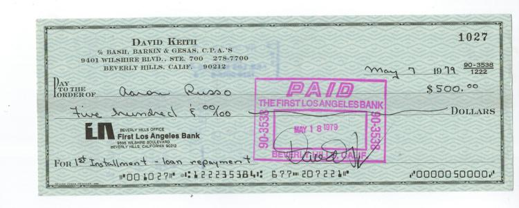 David Keith Hand Signed Check...