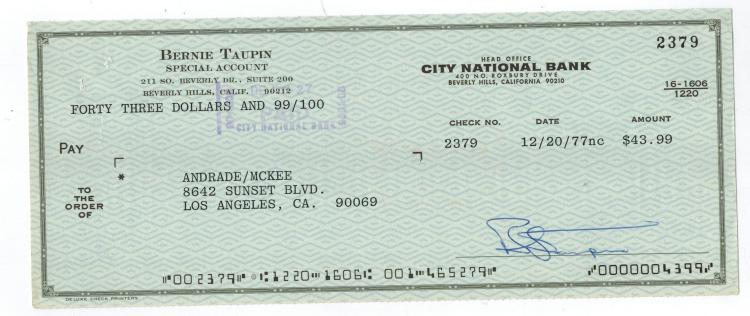 Bernie Taupin Hand Signed Check....