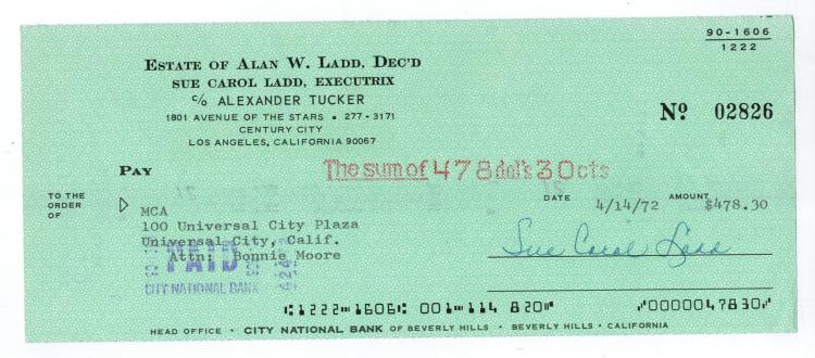 Sue Carol Hand Signed Check.....