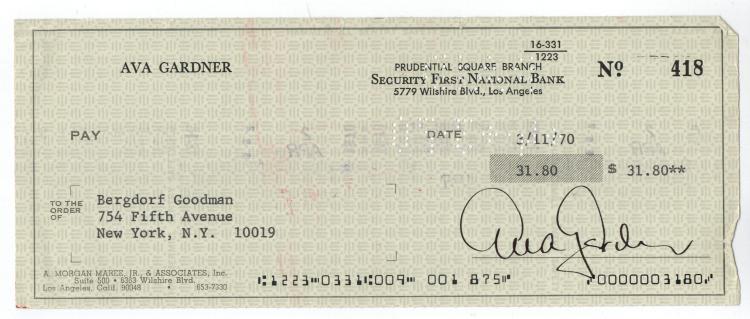 Ava Gardner Hand Signed Check...