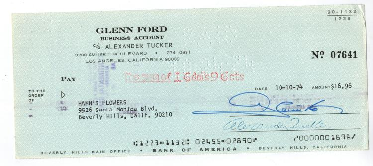 Glenn Ford Hand Signed Check....