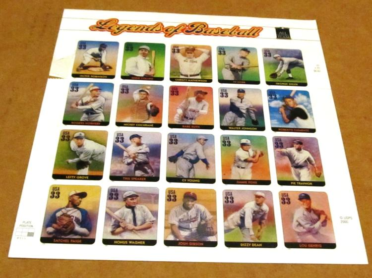 Legends of Baseball All Century Team 33Cent Stamp Sheet