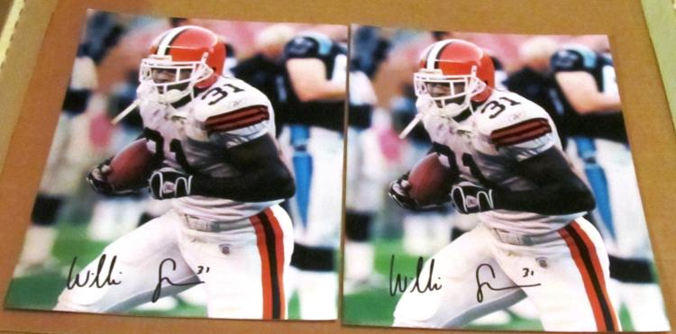 2 Willis McGahee #31 Cleveland Browns Autographed Color Photos