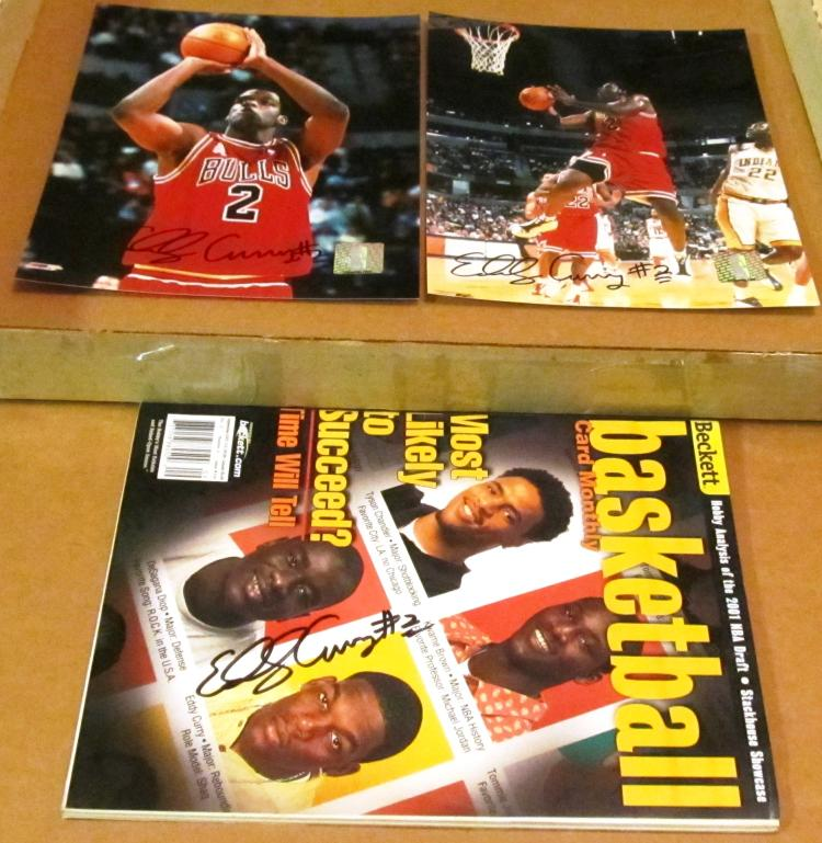 Eddy Curry Autographed 2 NBA Chicago Bulls Photos w/ Beckett Magazine