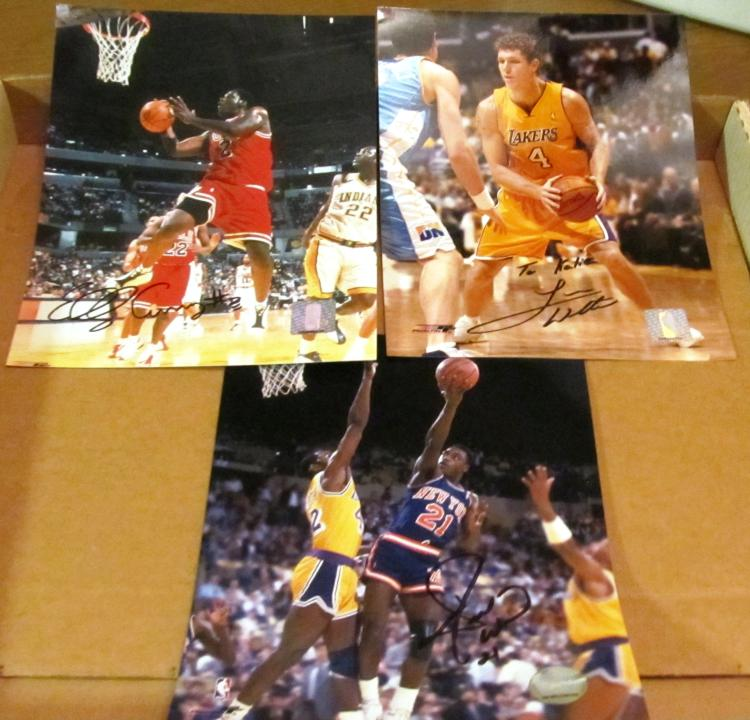 Luke Walton, Gerald Wilkins & Eddy Curry  Autographed Official NBA Photos
