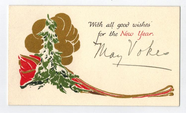 May Vokes Hand Signed Holiday Card....Silent Film Actress...