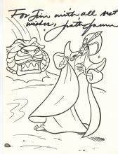 Jonathan Freeman Hand Signed Aladdin Sketch.