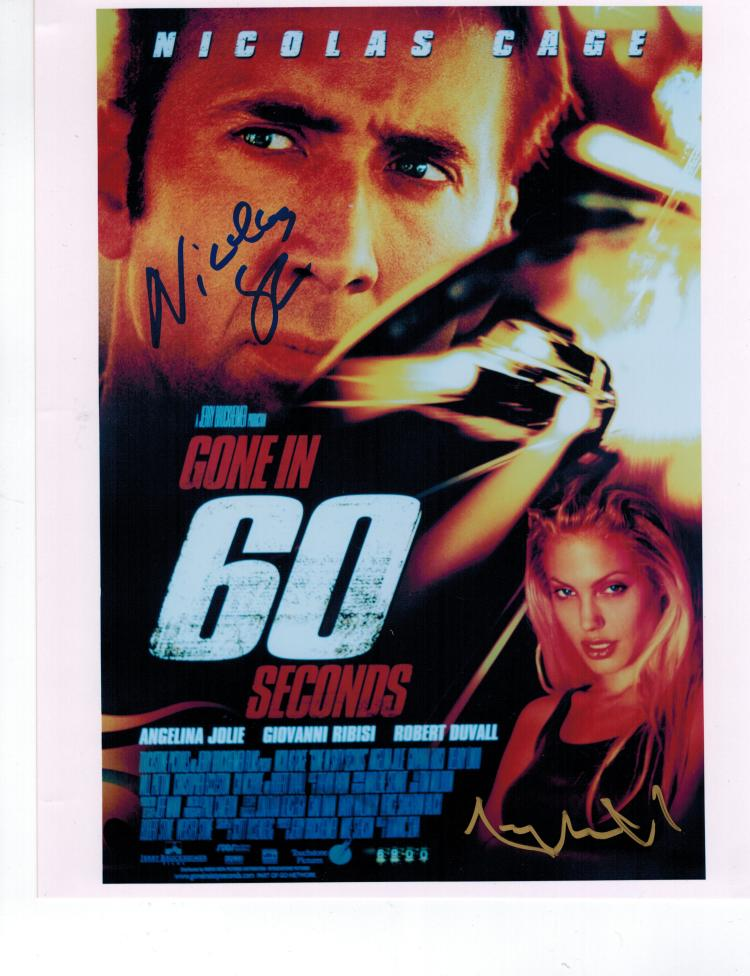 Nicolas Cage+Angelina Jolie Hand Signed Photo...