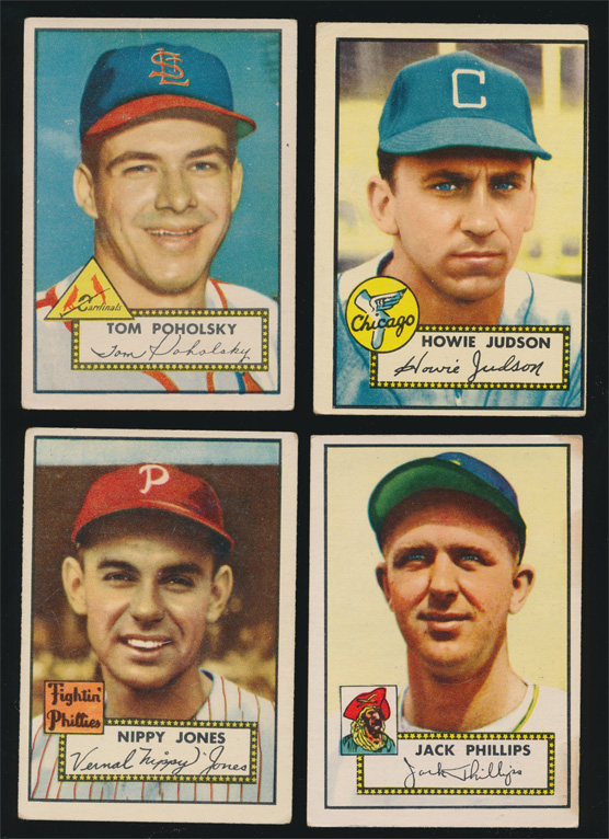 (4) 1952 Topps Baseball Cards (Vg) colorful