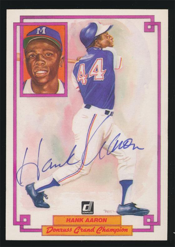 1984 Donruss Champions #8 Hank Aaron Autographed