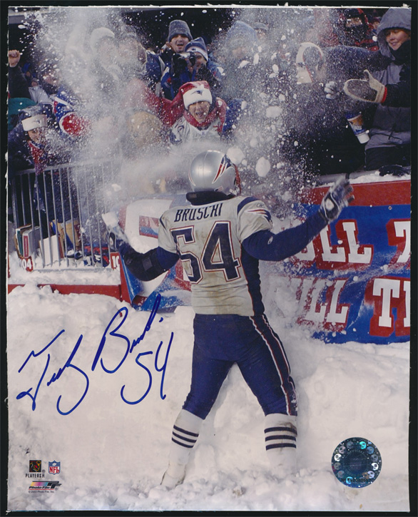 Teddy Bruschi Signed 8x10 color photo Throwing Snow !