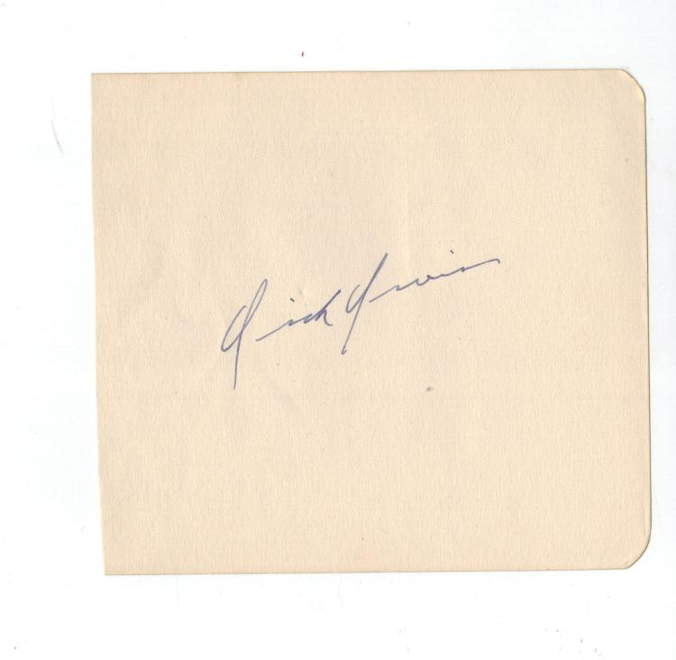 Dick Irvin Hand Signed Album Page....
