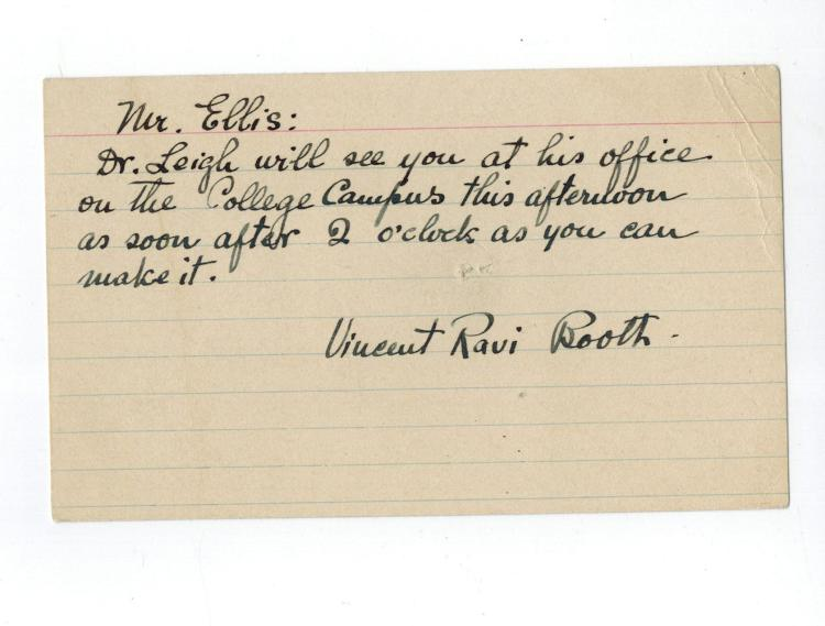 Vincent Ravi Booth Signed Card....Author+Founded Bennington College.