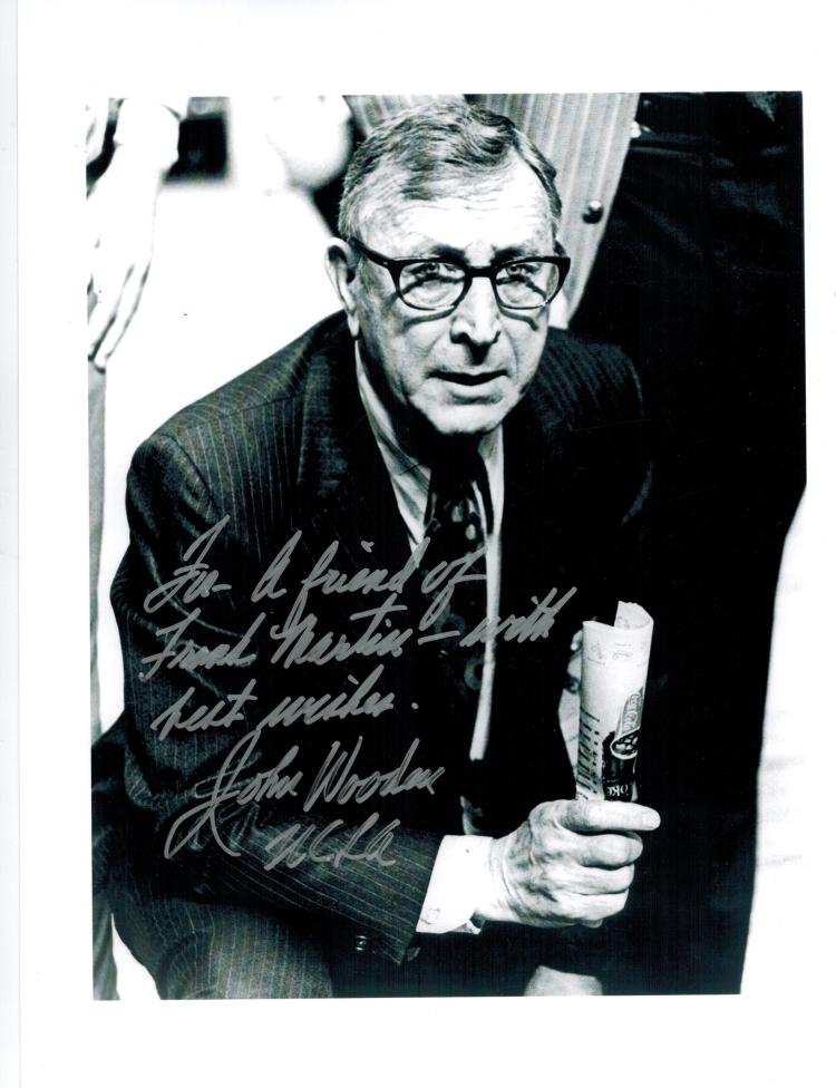 John Wooden Hand Signed Photo...