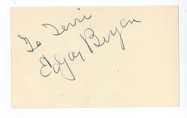 Edgar Bergen Hand Signed Card....