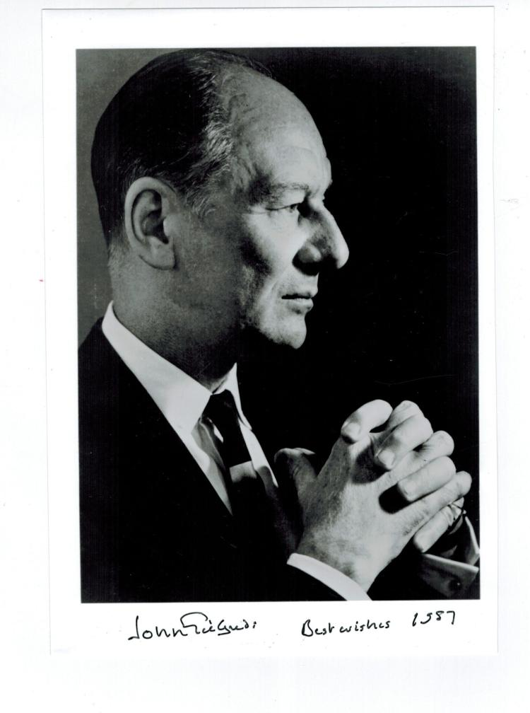 John Gielgud Hand Signed Photo...Oscar Winning Actor