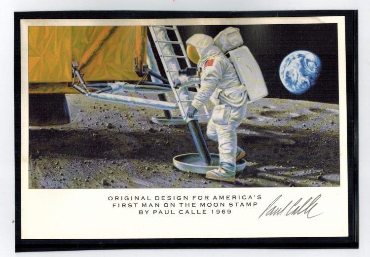 Artist Paul Calle Signed Original Design of 1st Man on Moon Stamp