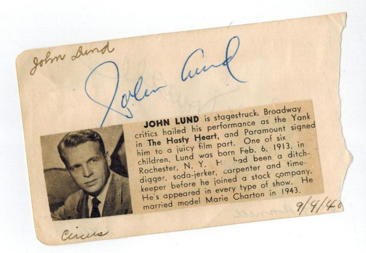 John Lund Hand signed Album Page/ Reverse Signed by Jeff Donnell.