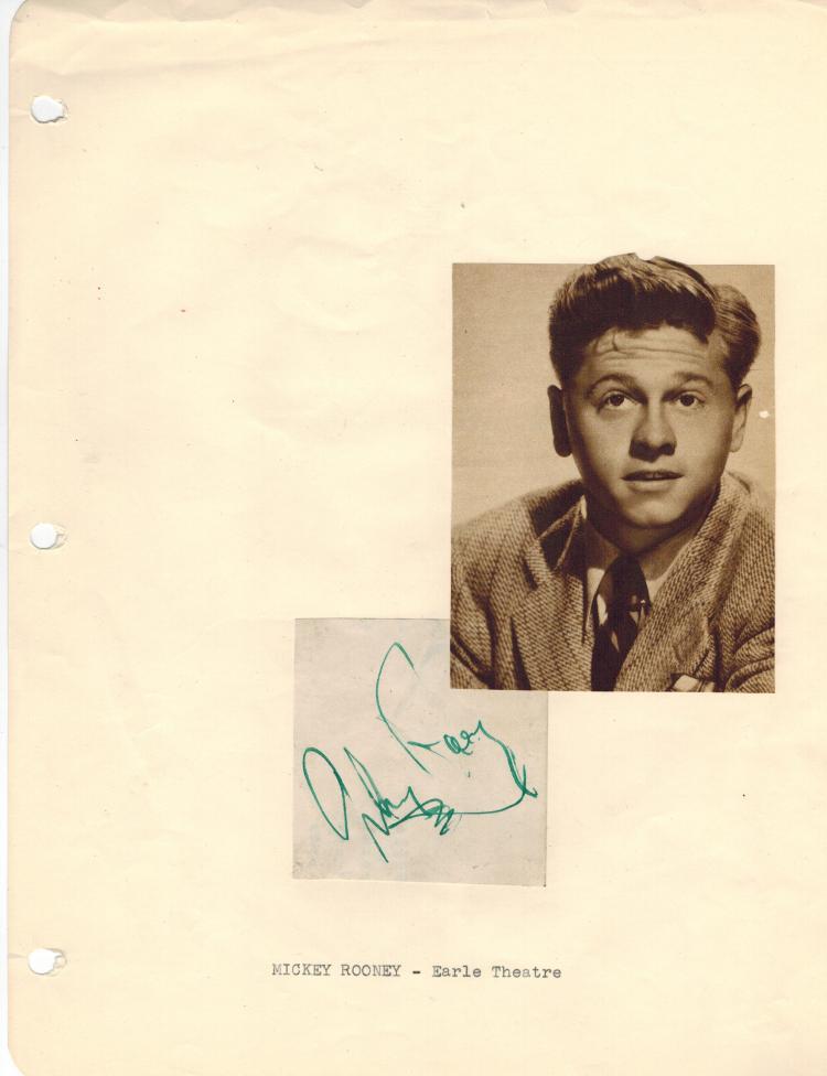 Mickey Rooney Vintage Signature.